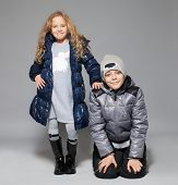 picture of down jacket  - Children in winter clothes - JPG