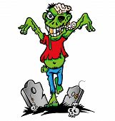 picture of cannibalism  - green zombie cartoon with tomb  - JPG