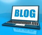 Blog On Laptop Shows Blogging Or Weblog Website