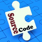 stock photo of open-source  - Source Code Puzzle Showing Software Program Or Programming - JPG