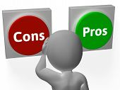 stock photo of debate  - Cons Pros Buttons Showing Decisions Or Debate - JPG