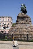 image of bohdan  - Bogdan Hmelnitsky on the horseon the square in Kiev - JPG