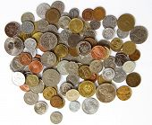 stock photo of copper coins  - Background made of various international coins - JPG