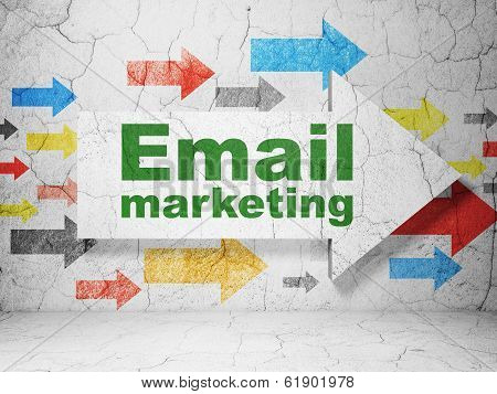 Finance concept: arrow with Email Marketing on grunge wall background