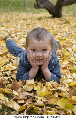 Boy In Leaves Hands On Face
