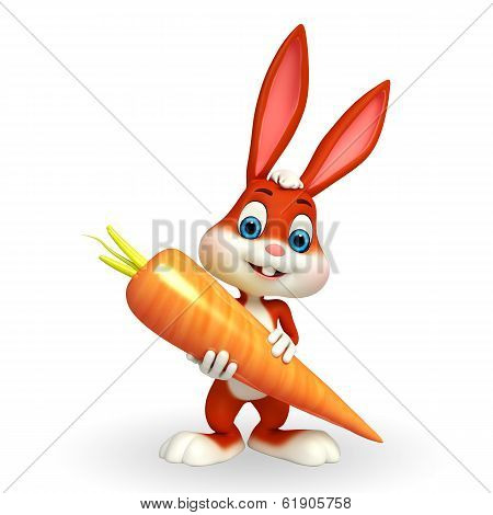Cute easter bunny with big carrot