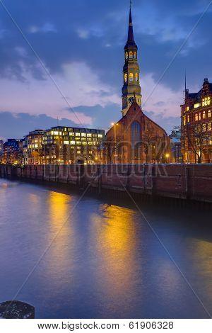Church at dawn in Hamburg