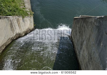 Beauty view of spillway in the reservoir