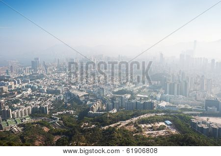 View Of The Polluted Hong Kong Cityscape From Beacon Hill, Kowloon