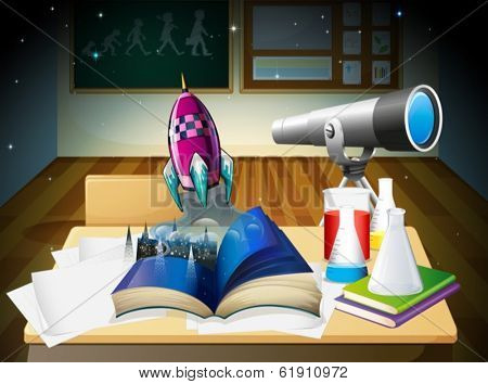 Illustration of a science laboratory room