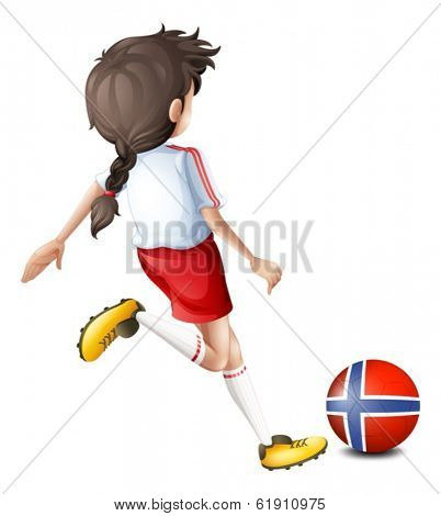 Illustration of a player using the ball from Norway on a white background
