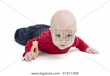 Baby On Floor, Isolated In White Background