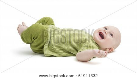 Happy Toddler Laying On Back