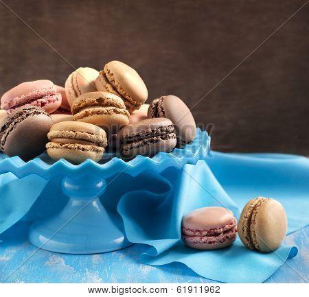 French Macaroons.  Coffee, Chocolate, Vanilla And Raspberry Macarons