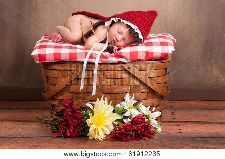 Newborn Baby Girl Wearing A Little Red Riding Hood Costume