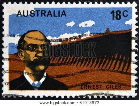 AUSTRALIA - CIRCA 1976: A stamp printed in Australia shows Ernest Giles circa 1976