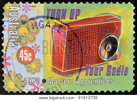 Stamp printed in Australia dedicated to Australian Rock and Roll shows Masters Apprentices