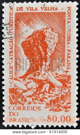 BRAZIL - CIRCA 1964: A stamp printed in Brazil shows Rock formation Chalice Rock Ponta Grossa Parana