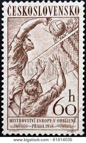 CZECHOSLOVAKIA - CIRCA 1958: Stamp printed in Czechoslovakia shows volleyball circa 1958