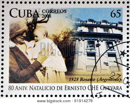 CUBA - CIRCA 2008: Stamp printed in Cuba dedicated to Ernesto Che Guevara
