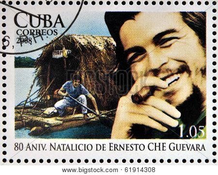 CUBA - CIRCA 2008: Stamp printed in Cuba shows Ernesto Che Guevara