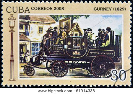 CUBA - CIRCA 2008: A stamp printed in Cuba shows Gurney 1929 vintage cars circa 2008