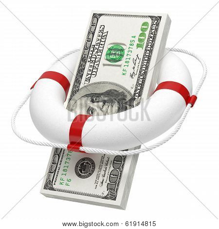 Wad Of Money In Lifebuoy Isolated On White Background