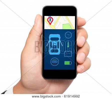 Isolated Man Hand Holding The Phone With Car Alarm Interface On A Screen