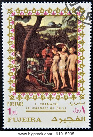 FUJEIRA - CIRCA 1985: Stamp printed in Fujeira shows The Judgment of Paris by Lucas Cranach