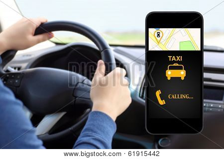 Phone With Interface Taxi On A Screen On A Background Man Driving A Car