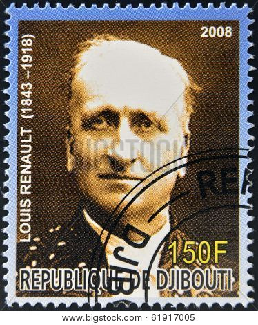DJIBOUTI - CIRCA 2008: stamp printed in Djibouti shows Louis Renault
