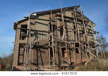 Lost city.Near Chernobyl area.Kiev region,Ukraine.Aban doned cottage construction site