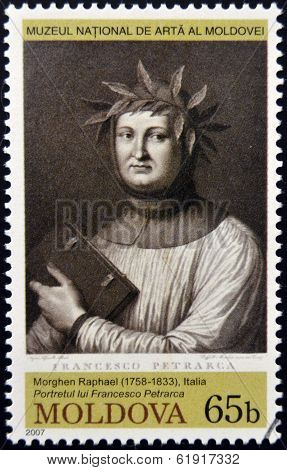 MOLDOVA - CIRCA 2007: Stamp printed in Moldova dedicated show shows Francesco Petrarca
