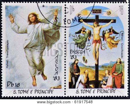 Stamps printed in Sao Tome shows Transfiguration of Christ and Christ Crucified by Raphael