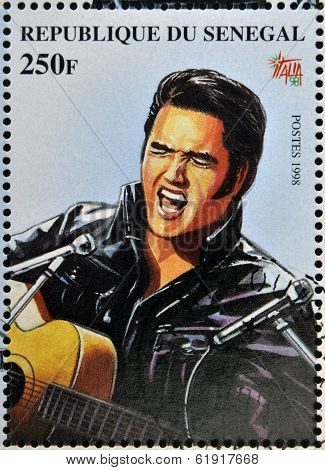 A stamp printed in Senegal shows the famous Elvis Presley