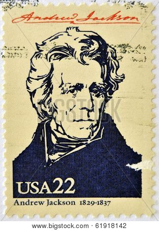 stamp printed in USA shows Andrew Jackson