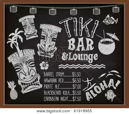 Tiki Bar and Lounge Chalkboard Cocktail Menu - Blackboard poster advertising Hawaiian tiki bar, with tiki gods, surfer, palm trees, coconut drink and the list of exotic Caribbean cocktails