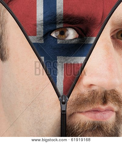 Unzipping Face To Flag Of Norway