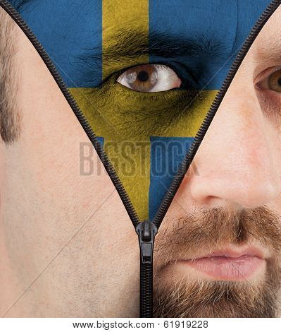 Unzipping Face To Flag Of Sweden