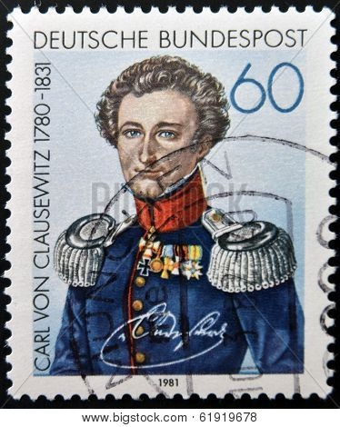 GERMANY- CIRCA 1981: A stamp printed in Germany shows image of Carl Philipp Gottfried von Clausewitz