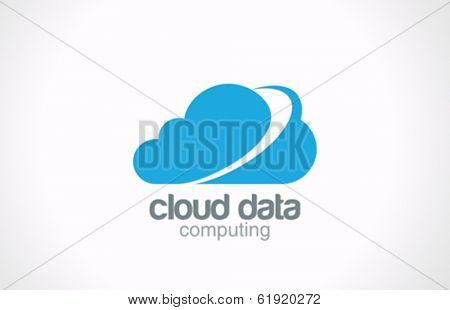 Cloud computing vector logo design template. Creative global internet concept. Network data transferring icon.