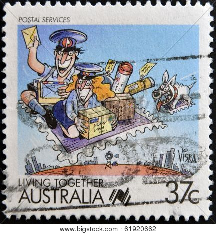 AUSTRALIA - CIRCA 1988: A stamp printed in Australia shows Living Together