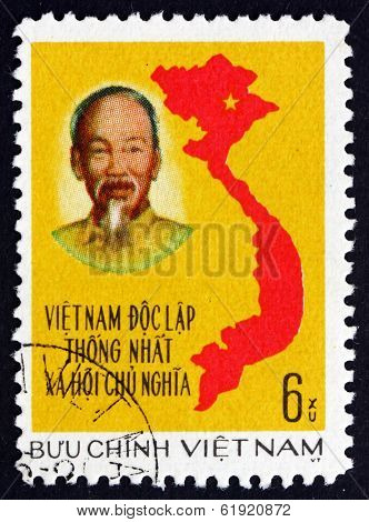 Postage Stamp Vietnam 1976 Unification Of Vietnam, Map