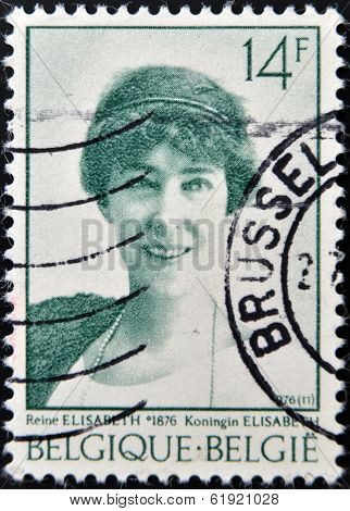 BELGIUM - CIRCA 1976: A stamp printed in Belgium shows Elisabeth of Bavaria Queen of Belgium