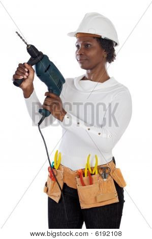 Woman With Helmet And Tools