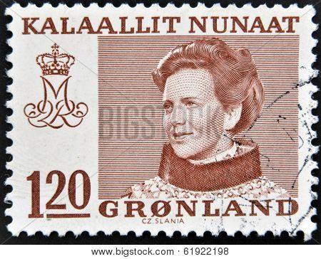 GREENLAND - CIRCA 1973: A stamp printed in Greenland shows Queen Margrethe II of Denmark circa 1973