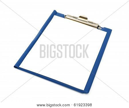 Blue Folder With White Sheet On It