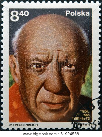 POLAND - CIRCA 1981: A stamp printed in Poland shows Pablo Picasso (1881-1973) artist circa 1981