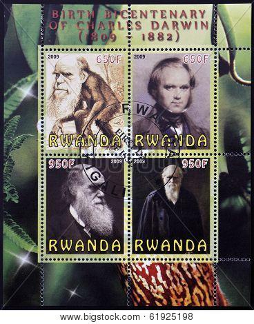 RWANDA - CIRCA 2009: Set de 4 stamps printed in Rwanda dedicated to Charles Darwin circa 2009