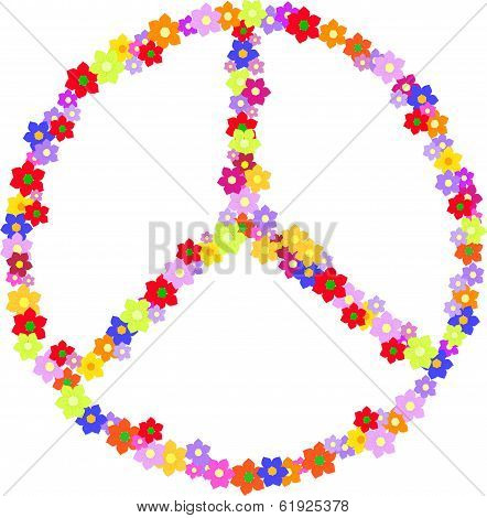 Vector Of Peace, Hippy Sign Made Of Flowers Isolated